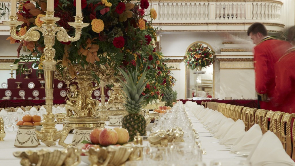 The Ballroom at Buckingham Palace set up for a State Banquet. Royal Collection Trust (c) Her Majesty Queen Elizabeth II, 2015