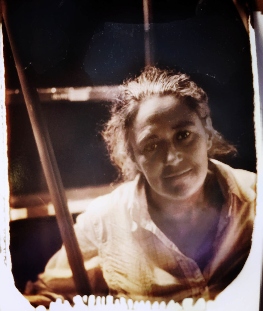 Tacita Dean photographed in her studio In Los Angeles, October 2015 testing New 55 instant film.