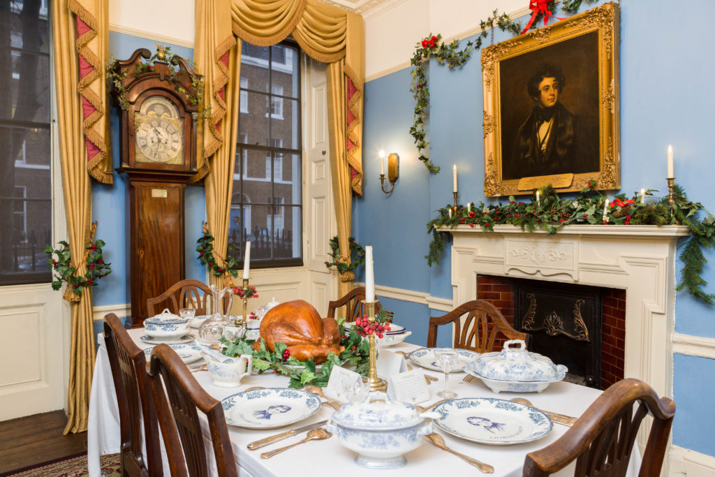 The Charles Dickens Museum decorated for Christmas